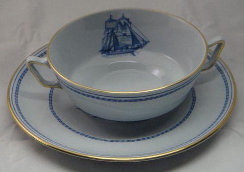 Spode Trade Winds-Blue Footed Cream Soup Bowl & Saucer Set