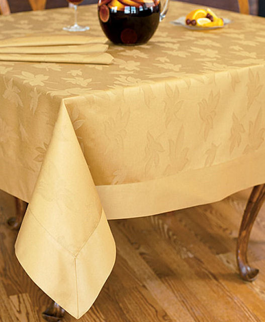 Bodrum Leaves 100 Cotton Tablecloth Gold