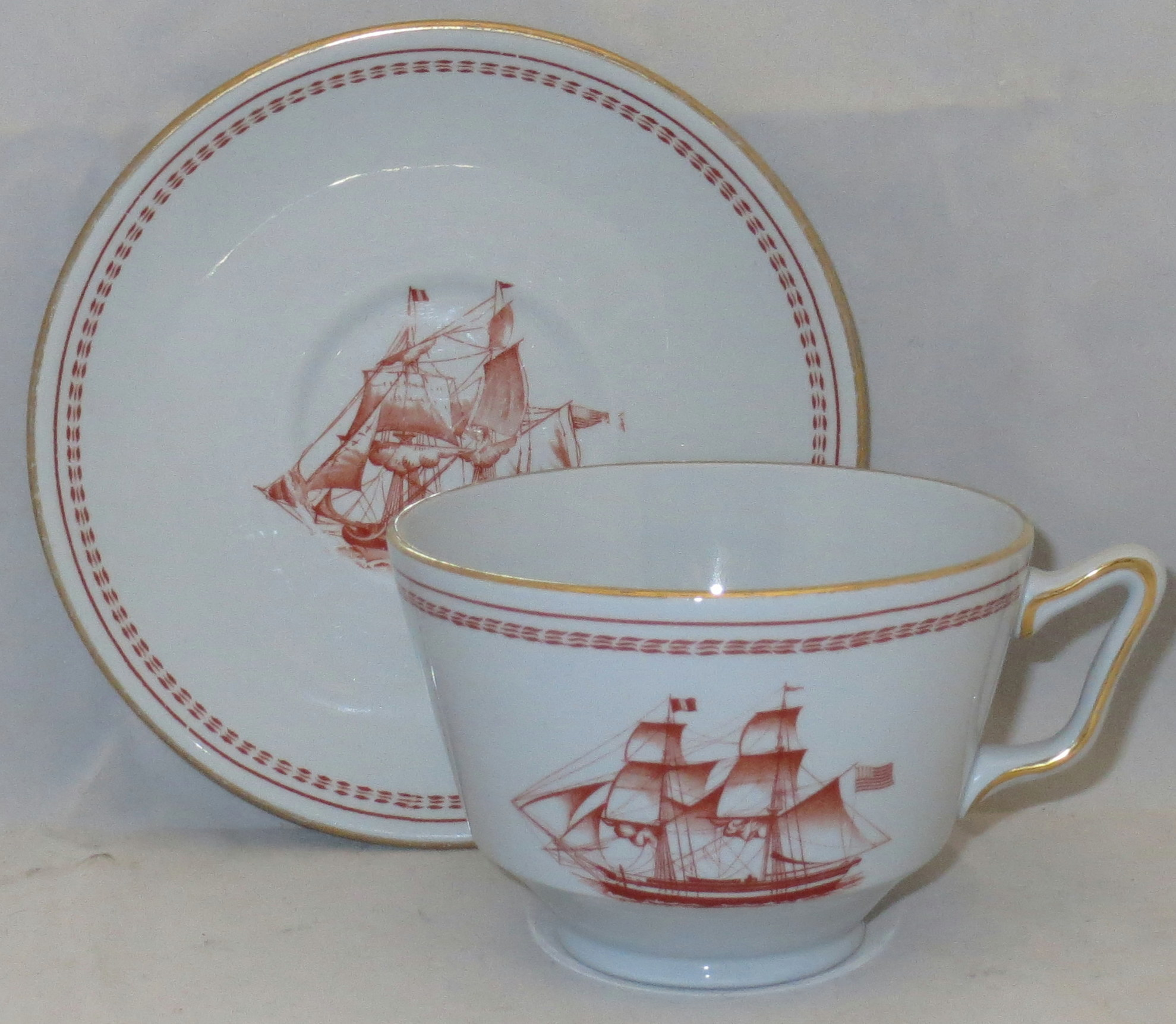 Spode Trade Winds-Red London Shape Footed Cup & Saucer Set
