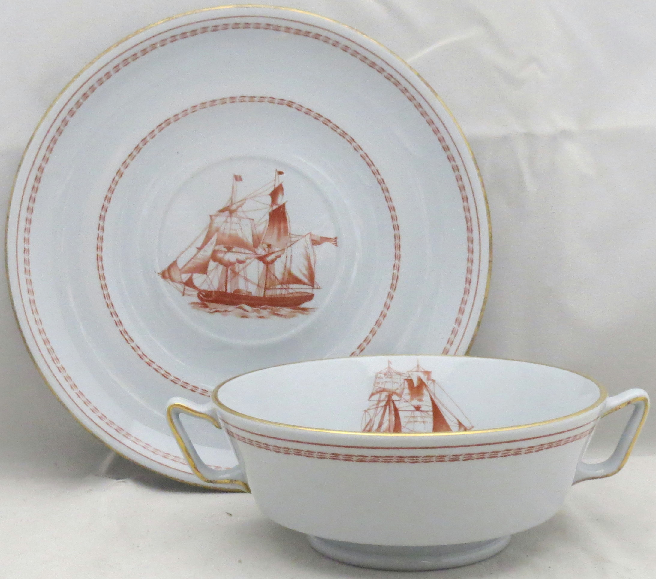 Spode Trade Winds-Red Footed Cream Soup Bowl & Saucer Set
