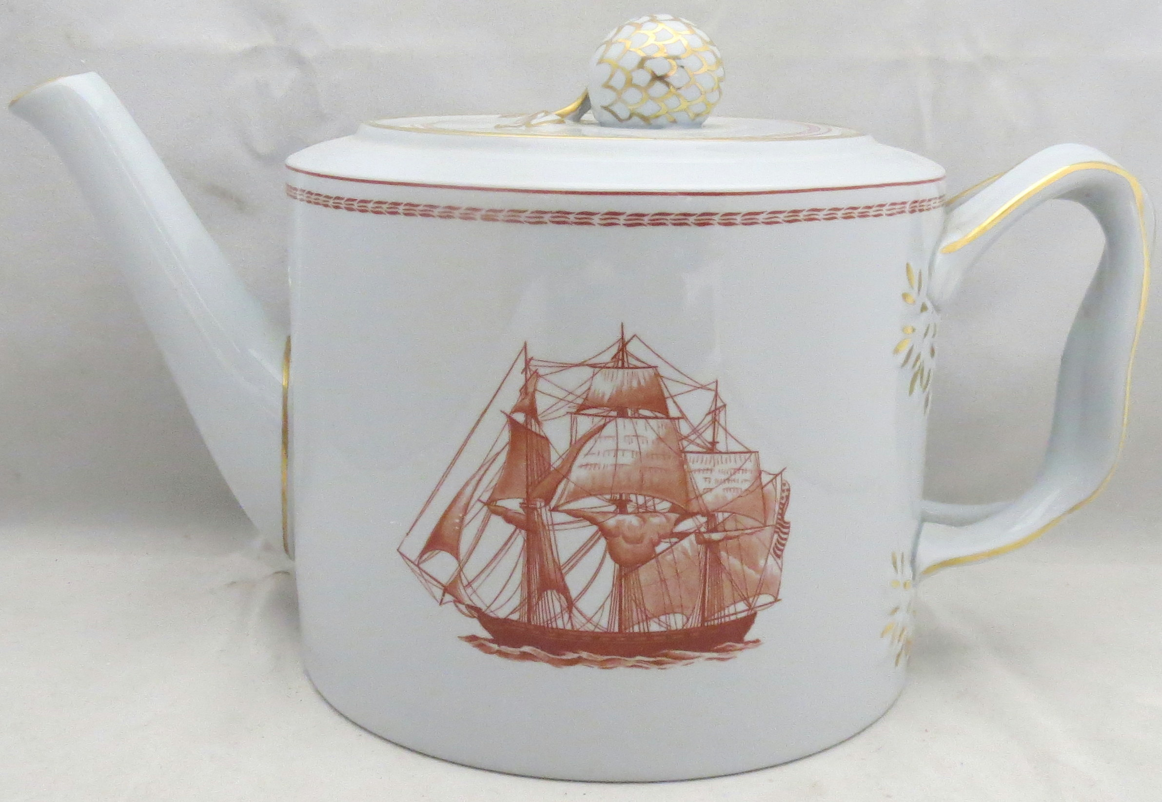 Spode Trade Winds-Red Teapot & Lid